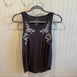 Grey Embroidered Tank